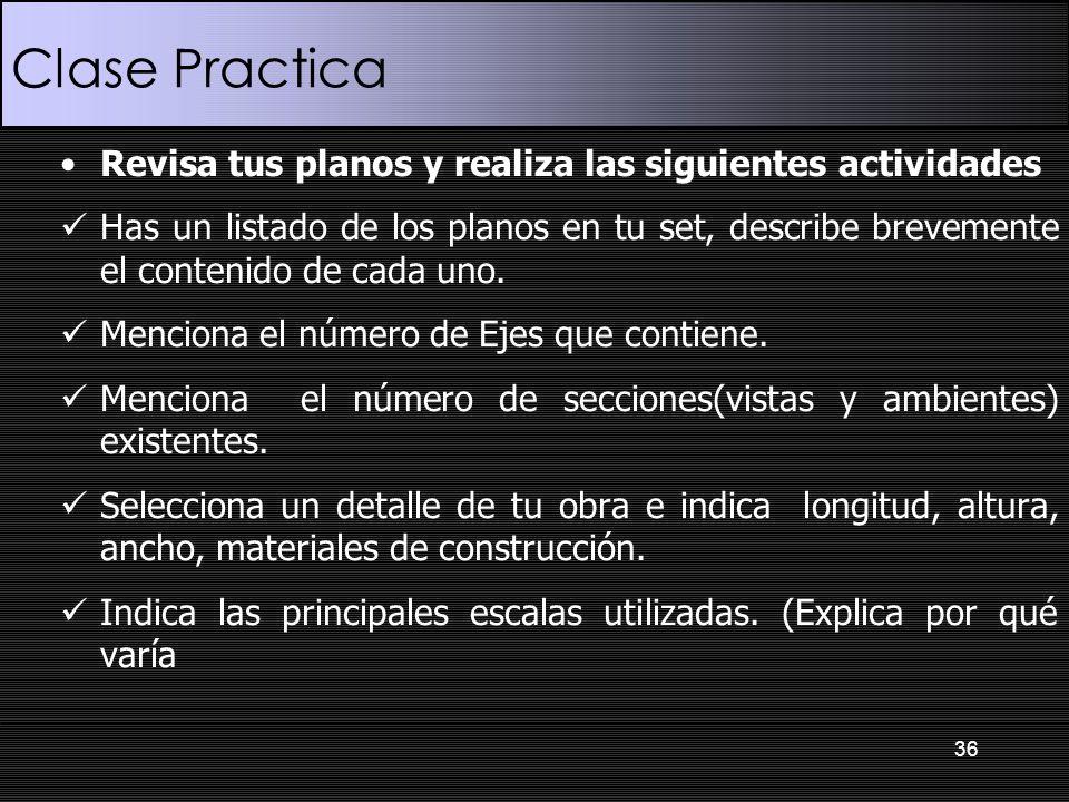 Clase Practica 36 Revisa tus planos y realiza las siguientes actividades Has un listado de los planos en tu set, describe brevemente el contenido de c