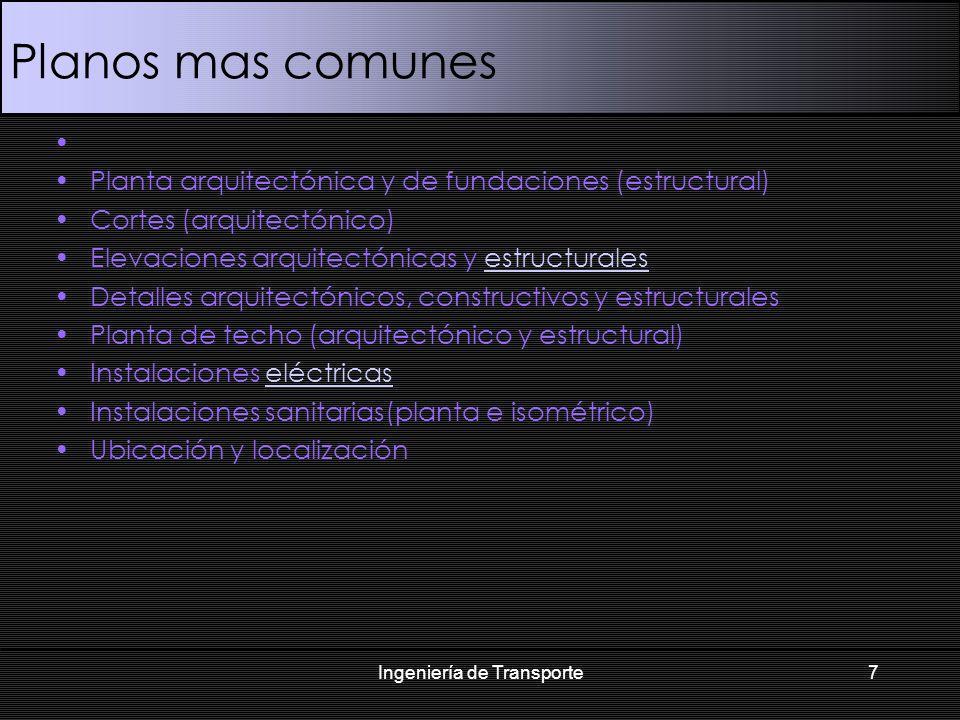 Planos mas comunes Planta arquitectónica y de fundaciones (estructural) Cortes (arquitectónico) Elevaciones arquitectónicas y estructuralesestructural