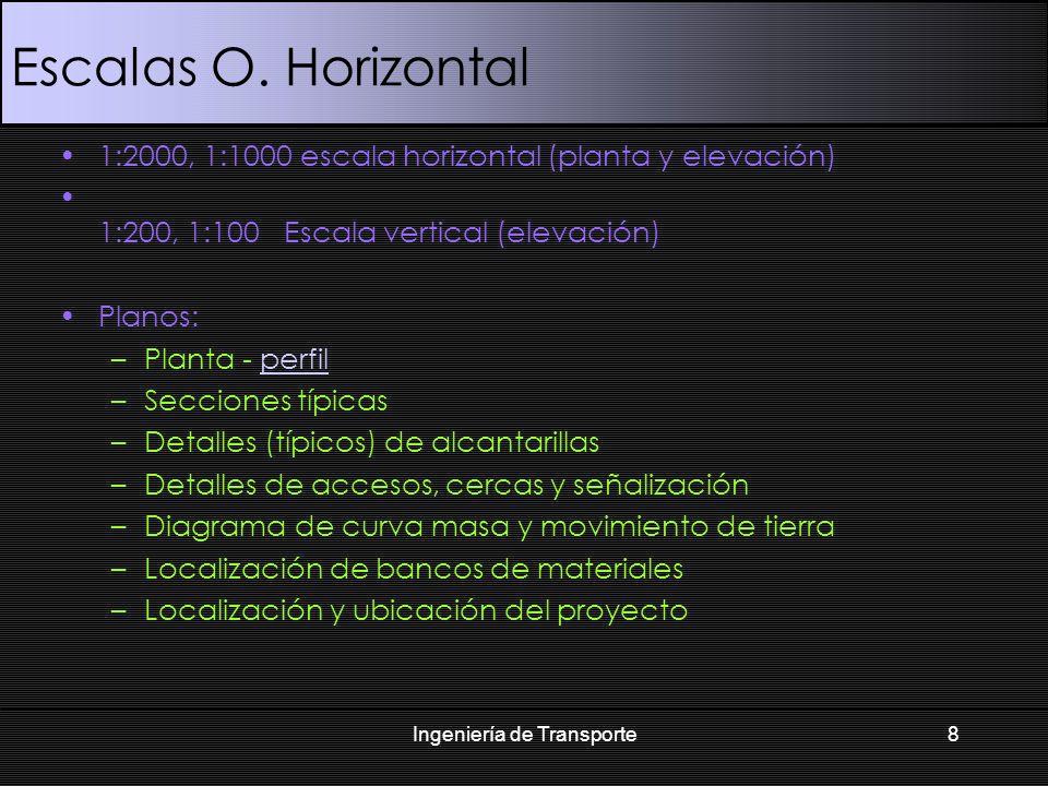 Escalas O. Horizontal 1:2000, 1:1000 escala horizontal (planta y elevación) 1:200, 1:100 Escala vertical (elevación) Planos: –Planta - perfilperfil –S