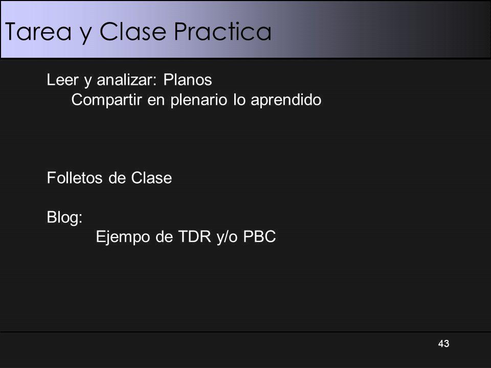 Tarea y Clase Practica 43 Leer y analizar: Planos Compartir en plenario lo aprendido Folletos de Clase Blog: Ejempo de TDR y/o PBC