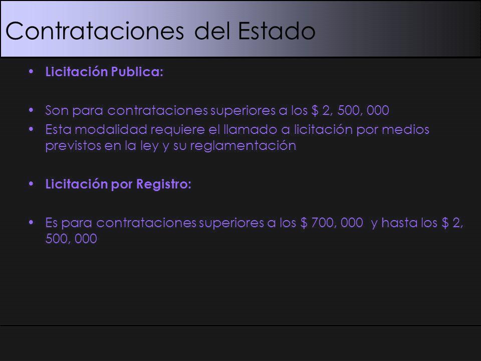 Contrataciones del Estado Licitación Publica: Son para contrataciones superiores a los $ 2, 500, 000 Esta modalidad requiere el llamado a licitación por medios previstos en la ley y su reglamentación Licitación por Registro: Es para contrataciones superiores a los $ 700, 000 y hasta los $ 2, 500, 000