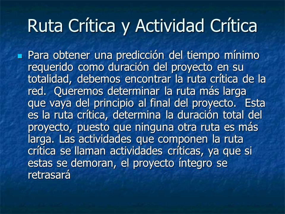 Ruta Crítica y Actividad Crítica Para obtener una predicción del tiempo mínimo requerido como duración del proyecto en su totalidad, debemos encontrar