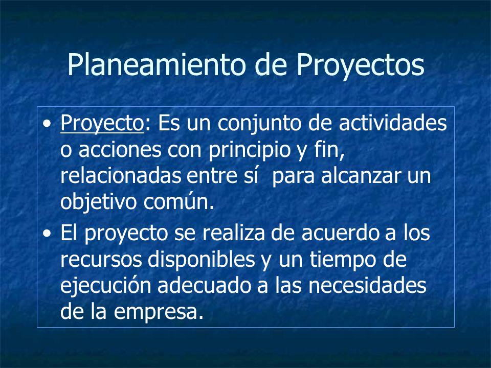 Planeamiento de Proyectos Proyecto: Es un conjunto de actividades o acciones con principio y fin, relacionadas entre sí para alcanzar un objetivo comú