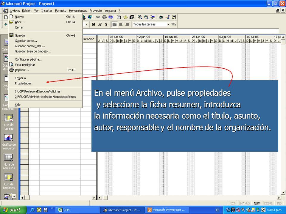 En el menú Archivo, pulse propiedades y seleccione la ficha resumen, introduzca y seleccione la ficha resumen, introduzca la información necesaria com