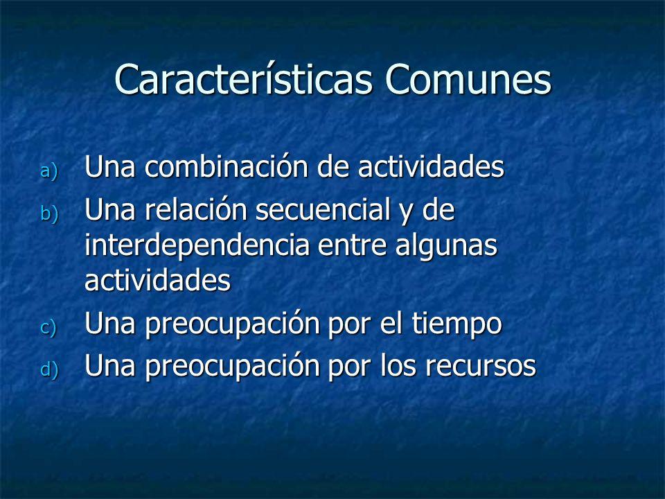 Características Comunes a) Una combinación de actividades b) Una relación secuencial y de interdependencia entre algunas actividades c) Una preocupaci