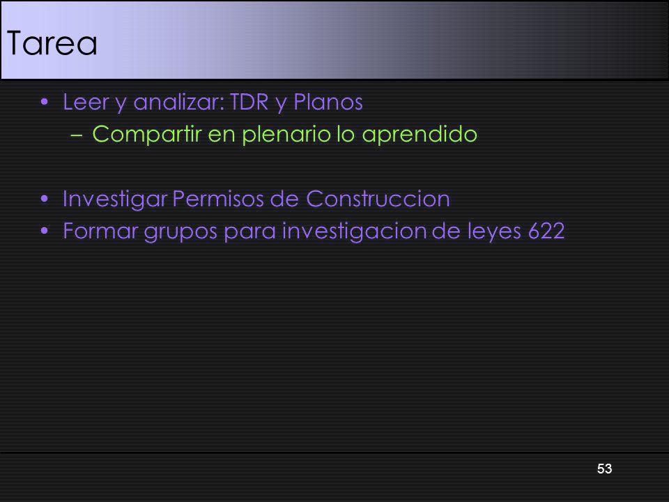 Tarea Leer y analizar: TDR y Planos –Compartir en plenario lo aprendido Investigar Permisos de Construccion Formar grupos para investigacion de leyes 622 53