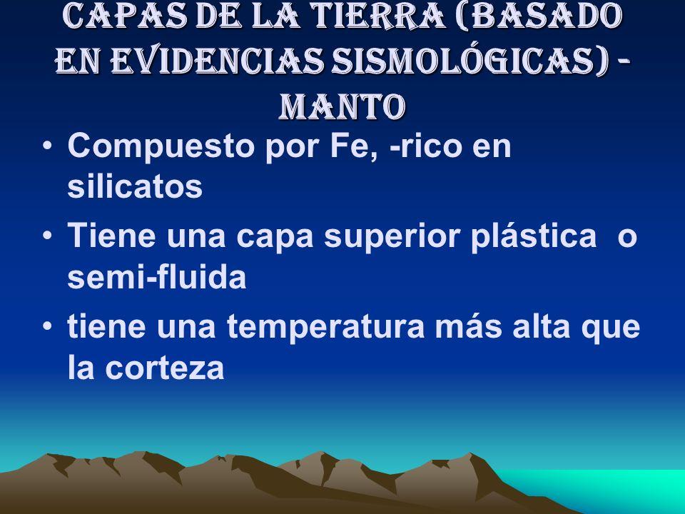 Capas de la Tierra (basado en evidencias Sismológicas) CORTEZA Dos formas - continental y oceánica Corteza Continental compuesta por rocas menos densa