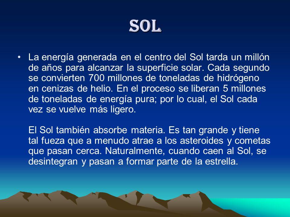 SOL Se calcula una edad aproximada de 4, 700 millones de años Hoy se sabe que la llamada cadena proton-proton (cuatro protones, que debido a la alta t