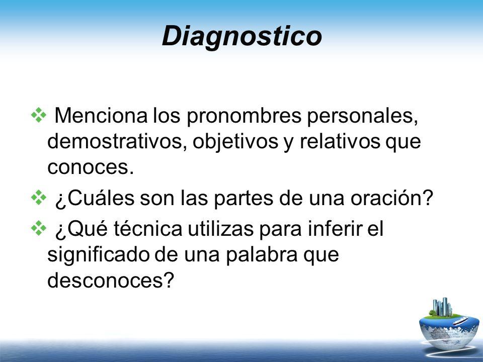 Diagnostico Menciona los pronombres personales, demostrativos, objetivos y relativos que conoces. ¿Cuáles son las partes de una oración? ¿Qué técnica