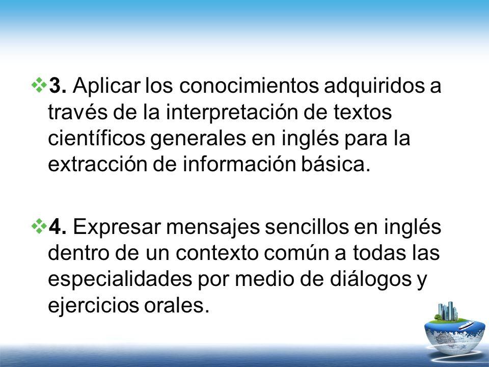 3. Aplicar los conocimientos adquiridos a través de la interpretación de textos científicos generales en inglés para la extracción de información bási