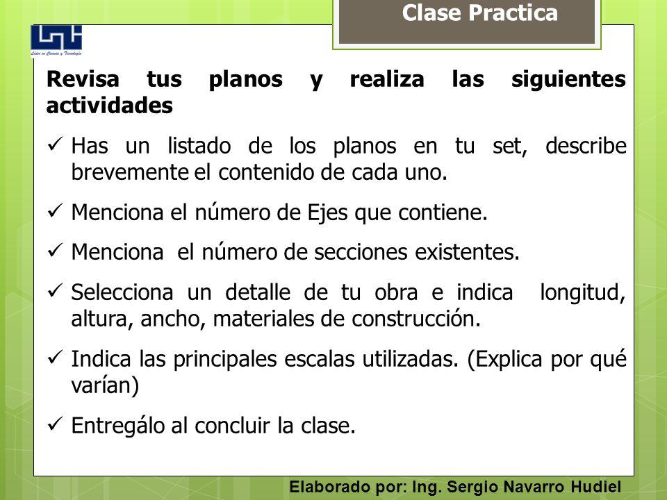 Clase Practica Revisa tus planos y realiza las siguientes actividades Has un listado de los planos en tu set, describe brevemente el contenido de cada