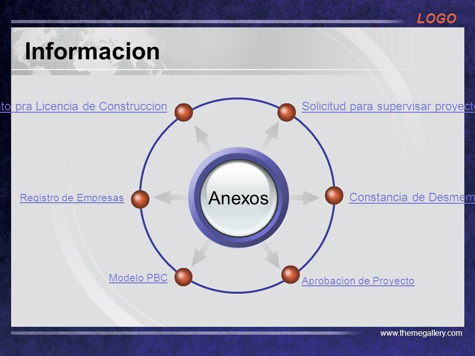 LOGO www.themegallery.com Informacion Anexos Solicitud para supervisar proyectosReglamento pra Licencia de Construccion Constancia de Desmembracion Aprobacion de Proyecto Registro de Empresas Modelo PBC