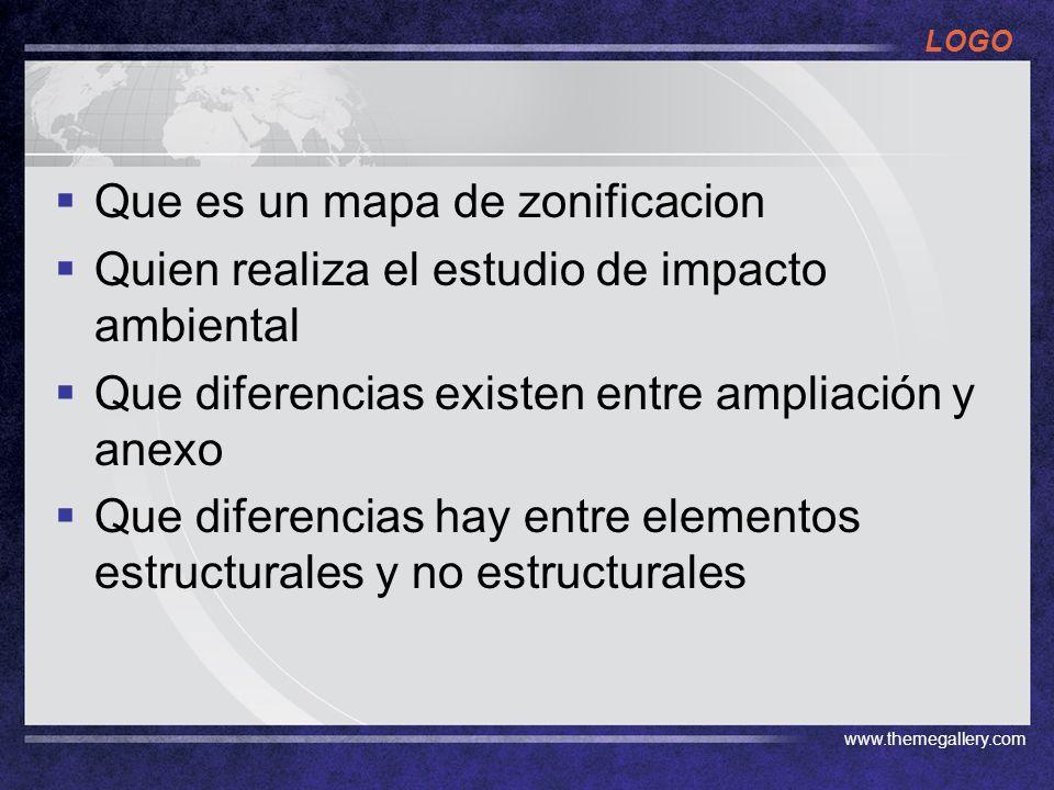 LOGO www.themegallery.com Que es un mapa de zonificacion Quien realiza el estudio de impacto ambiental Que diferencias existen entre ampliación y anexo Que diferencias hay entre elementos estructurales y no estructurales