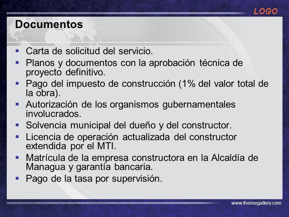LOGO www.themegallery.com Cuanto hay que pagar Tasa de Supervisión Urbanizaciones, pago mensual de 2, 000 córdobas Edificaciones de 1 a 100 m2 C$ 1/m2 Edificaciones de 101 a 200 m2 C$ 2/m2 Edificaciones de 201 a 1000 m2 C$ 3/m2 Edificaciones de mas de 1001 m2 C$ 4/m2