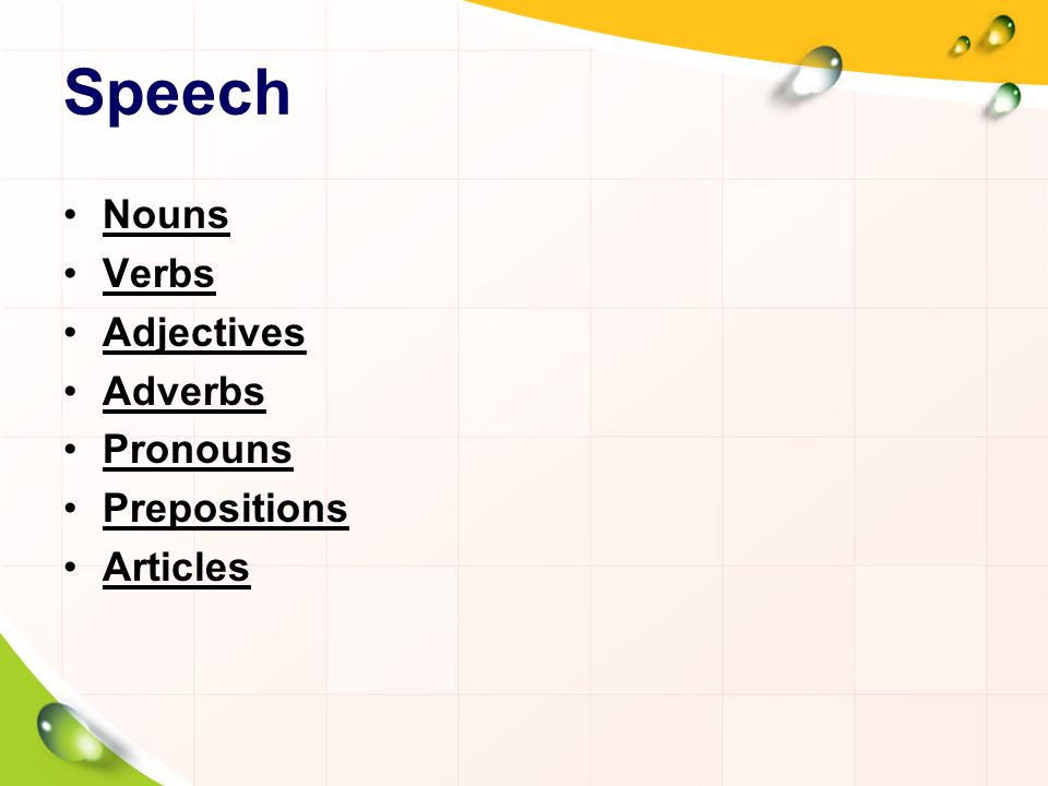 Speech Nouns Verbs Adjectives Adverbs Pronouns Prepositions Articles