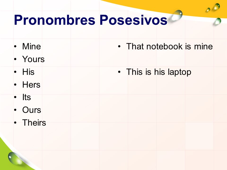 Pronombres Posesivos Mine Yours His Hers Its Ours Theirs That notebook is mine This is his laptop