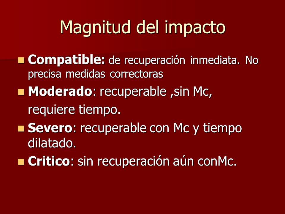 Magnitud del impacto Compatible: de recuperación inmediata. No precisa medidas correctoras Compatible: de recuperación inmediata. No precisa medidas c
