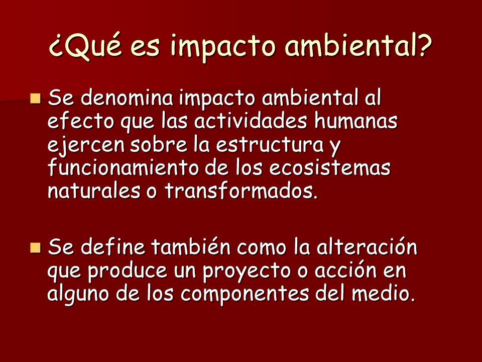 ¿Qué es impacto ambiental? Se denomina impacto ambiental al efecto que las actividades humanas ejercen sobre la estructura y funcionamiento de los eco