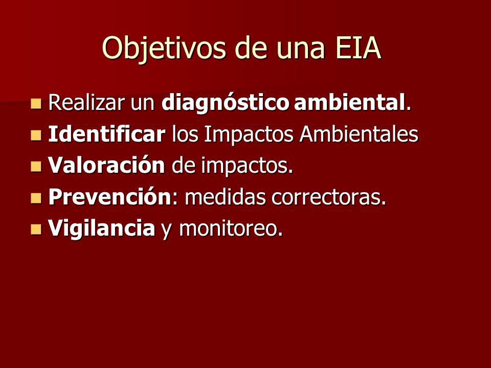 Objetivos de una EIA Realizar un diagnóstico ambiental. Realizar un diagnóstico ambiental. Identificar los Impactos Ambientales Identificar los Impact