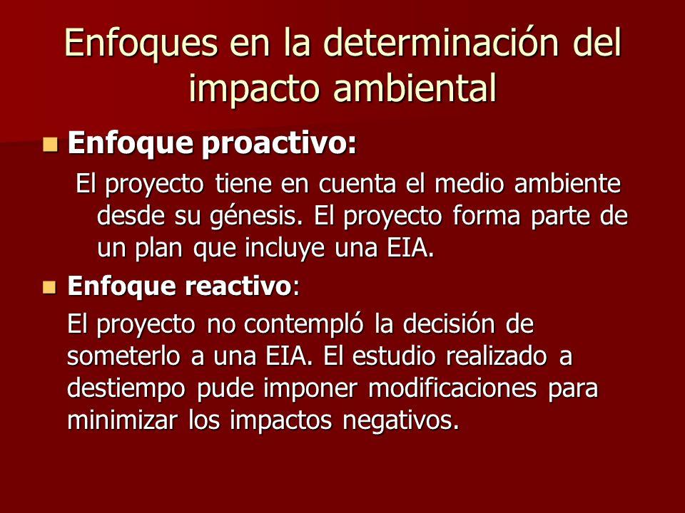 Enfoques en la determinación del impacto ambiental Enfoque proactivo: Enfoque proactivo: El proyecto tiene en cuenta el medio ambiente desde su génesi