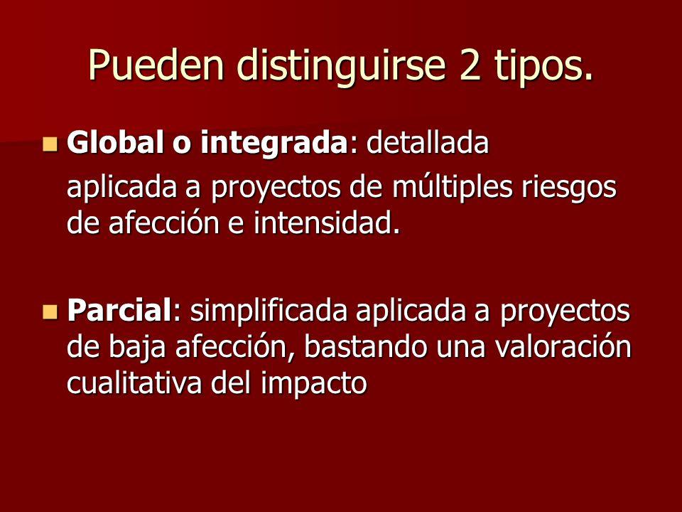 Pueden distinguirse 2 tipos. Global o integrada: detallada Global o integrada: detallada aplicada a proyectos de múltiples riesgos de afección e inten