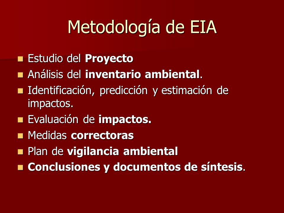 Metodología de EIA Estudio del Proyecto Estudio del Proyecto Análisis del inventario ambiental. Análisis del inventario ambiental. Identificación, pre