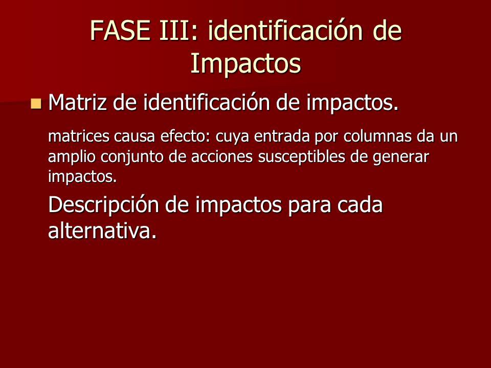 FASE III: identificación de Impactos Matriz de identificación de impactos. Matriz de identificación de impactos. matrices causa efecto: cuya entrada p