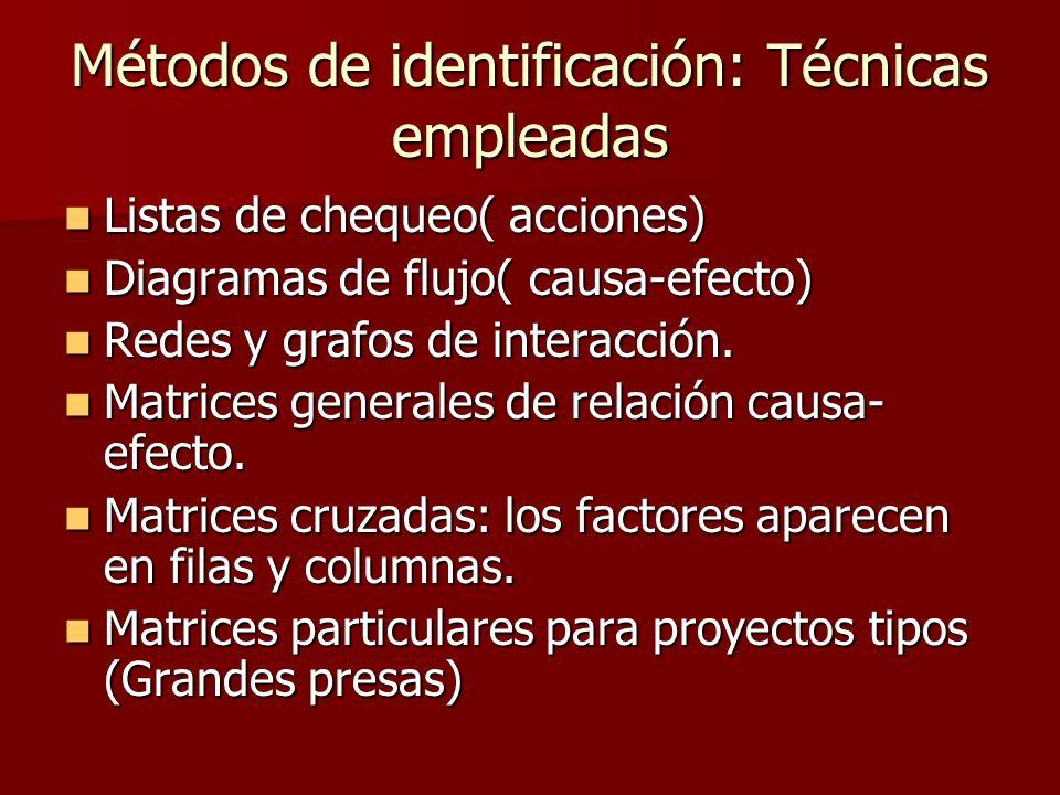 Métodos de identificación: Técnicas empleadas Listas de chequeo( acciones) Listas de chequeo( acciones) Diagramas de flujo( causa-efecto) Diagramas de