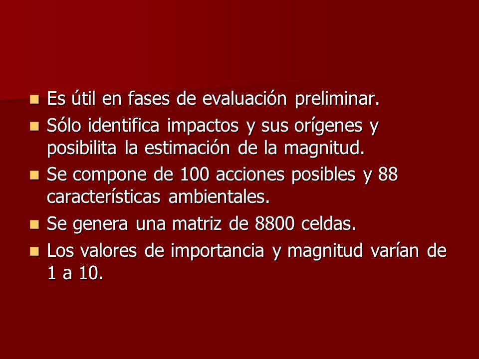 Es útil en fases de evaluación preliminar. Es útil en fases de evaluación preliminar. Sólo identifica impactos y sus orígenes y posibilita la estimaci