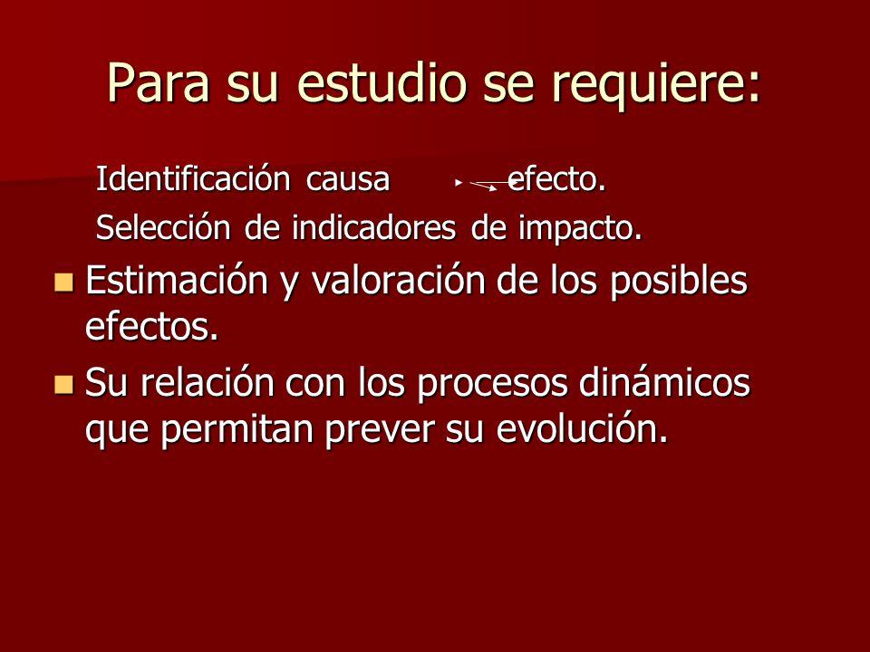 Para su estudio se requiere: Identificación causa efecto. Selección de indicadores de impacto. Estimación y valoración de los posibles efectos. Estima
