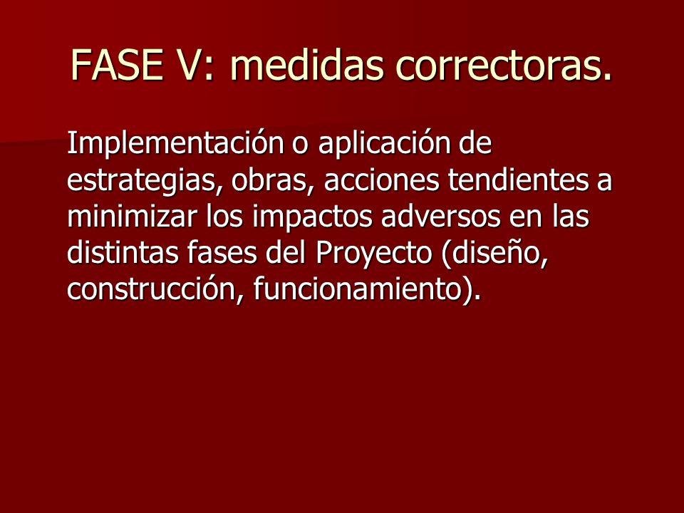 FASE V: medidas correctoras. Implementación o aplicación de estrategias, obras, acciones tendientes a minimizar los impactos adversos en las distintas