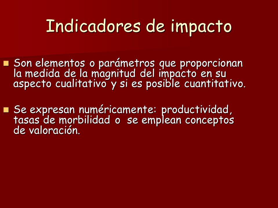 Indicadores de impacto Son elementos o parámetros que proporcionan la medida de la magnitud del impacto en su aspecto cualitativo y si es posible cuan