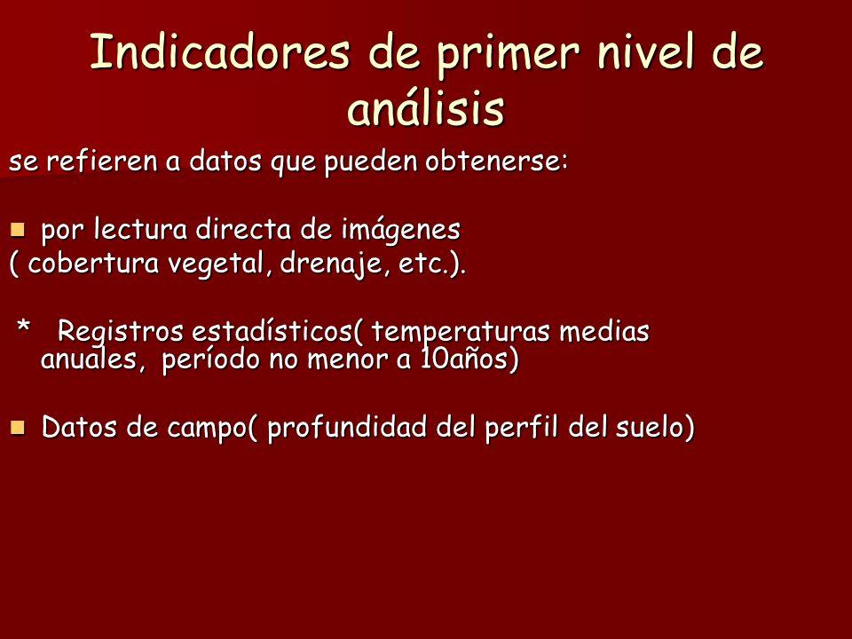 Indicadores de segundo nivel Se obtienen al relacionar los indicadores de primer nivel de análisis ( tasa de renovación, valor forrajero o valor forestal) Se obtienen al relacionar los indicadores de primer nivel de análisis ( tasa de renovación, valor forrajero o valor forestal)