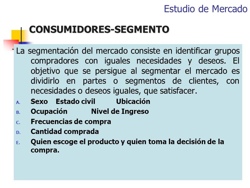 CONSUMIDORES-SEGMENTO La segmentación del mercado consiste en identificar grupos compradores con iguales necesidades y deseos. El objetivo que se pers