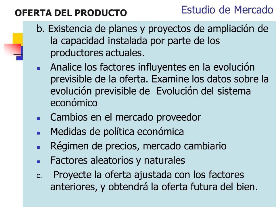 OFERTA DEL PRODUCTO b. Existencia de planes y proyectos de ampliación de la capacidad instalada por parte de los productores actuales. Analice los fac