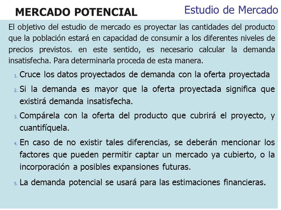 MERCADO POTENCIAL El objetivo del estudio de mercado es proyectar las cantidades del producto que la población estará en capacidad de consumir a los d