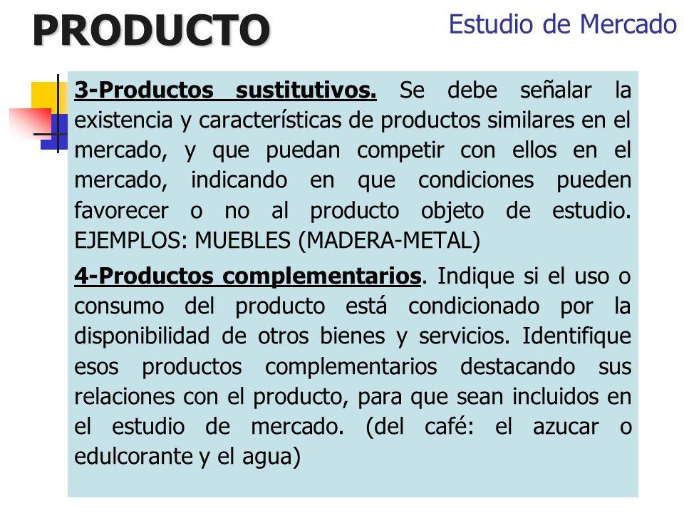 PRODUCTO 3-Productos sustitutivos. Se debe señalar la existencia y características de productos similares en el mercado, y que puedan competir con ell