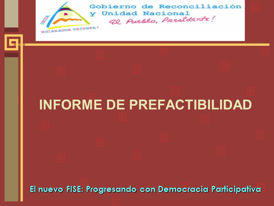 INFORME DE PREFACTIBILIDAD El nuevo FISE: Progresando con Democracia Participativa