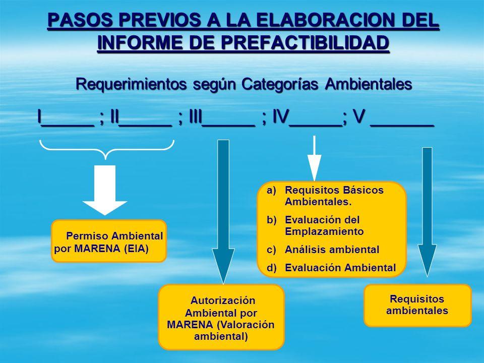 PASOS PREVIOS A LA ELABORACION DEL INFORME DE PREFACTIBILIDAD Paso 3: Definir la categoría ambiental del proyecto. Paso 3: Definir la categoría ambien