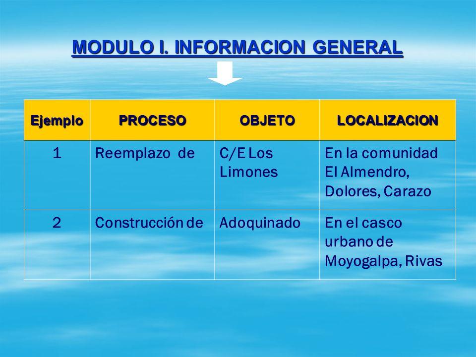 MODULO I. INFORMACION GENERAL SECCION 1: DATOS GENERALES DEL PROYECTO El nombre del proyecto debe ser estructurado conforme las tres partes siguientes