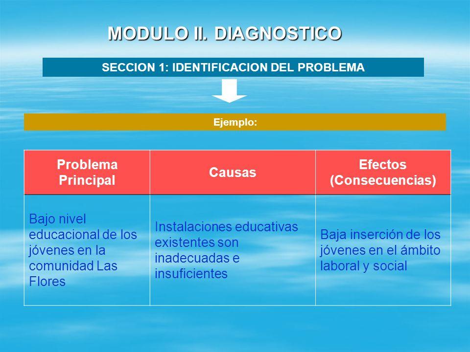 MODULO II. DIAGNOSTICO SECCION 1: IDENTIFICACION DEL PROBLEMA Identificar un PROBLEMA CENTRAL teniendo en cuenta lo siguiente: No se debe confundir co