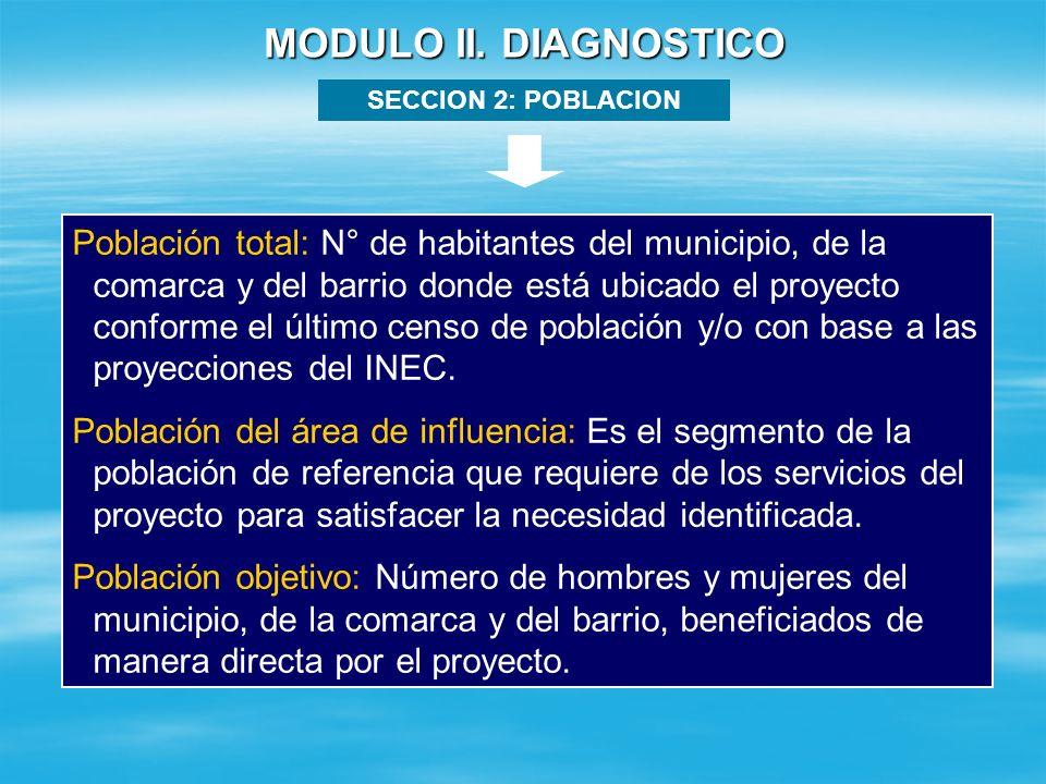 MODULO II. DIAGNOSTICO SECCION 1: IDENTIFICACION DEL PROBLEMA Problema Principal Causas Efectos (Consecuencias) Bajo nivel educacional de los jóvenes