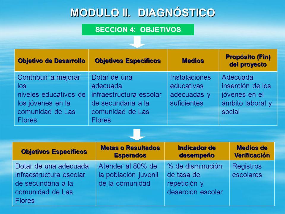 MODULO II. DIAGNOSTICO SECCION 4: OBJETIVOS Objetivo de Desarrollo: Objetivo de Desarrollo: Es el planteamiento del problema en forma positiva. El obj
