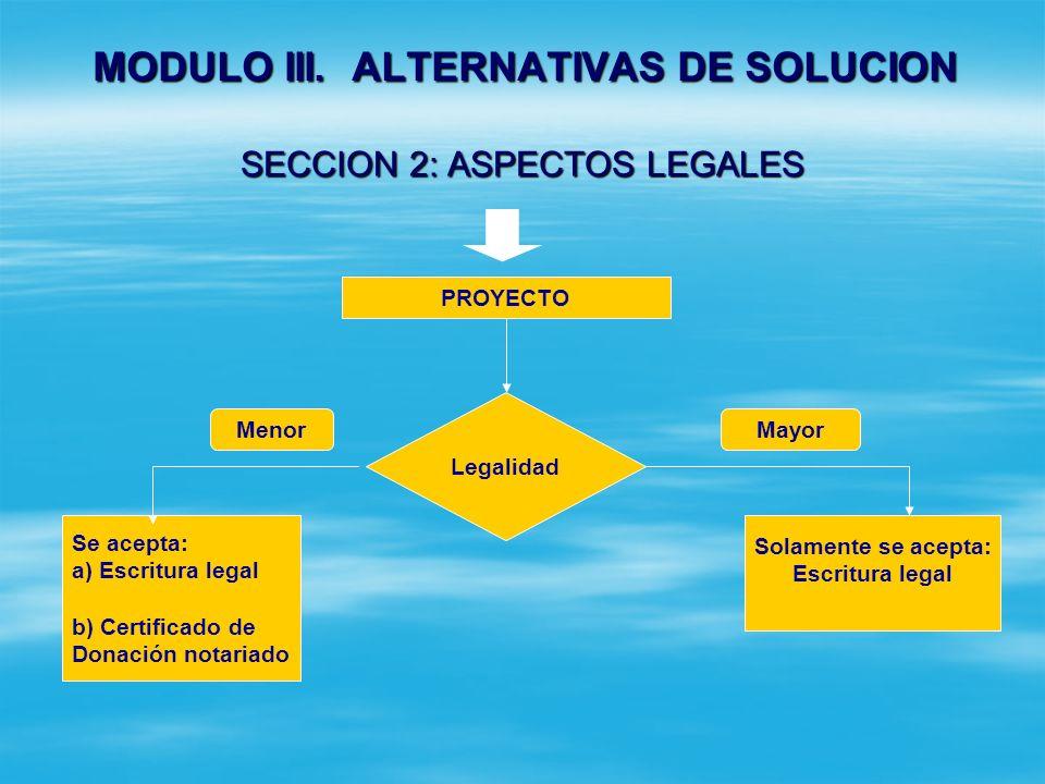 MODULO III. ALTERNATIVAS DE SOLUCION SECCION 1: PROPUESTA DE ALTERNATIVAS CONTENIDO DE CADA ALTERNATIVA Descripción detallada de la misma Localización