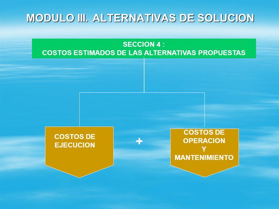 MODULO III. ALTERNATIVAS DE SOLUCION SECCION 3: ASPECTOS AMBIENTALES RESULTADO DE LA EVALUACIÓN DEL EMPLAZAMIENTO (PARA PROYECT0S UBICADOS EN LA CATEG