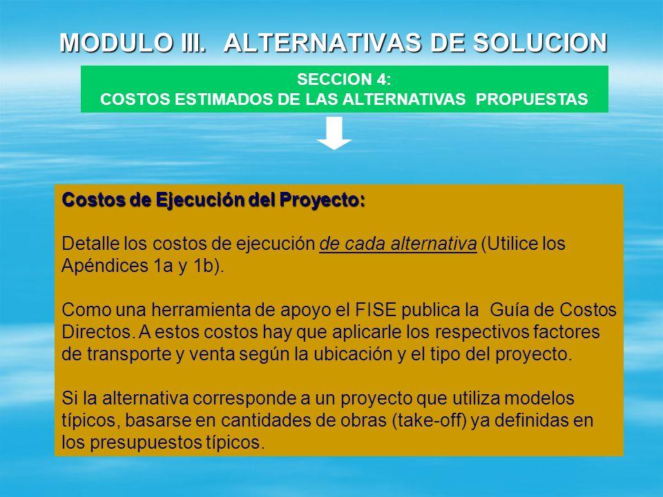 MODULO III. ALTERNATIVAS DE SOLUCION SECCION 4 : COSTOS ESTIMADOS DE LAS ALTERNATIVAS PROPUESTAS COSTOS DE EJECUCION + COSTOS DE OPERACION Y MANTENIMI