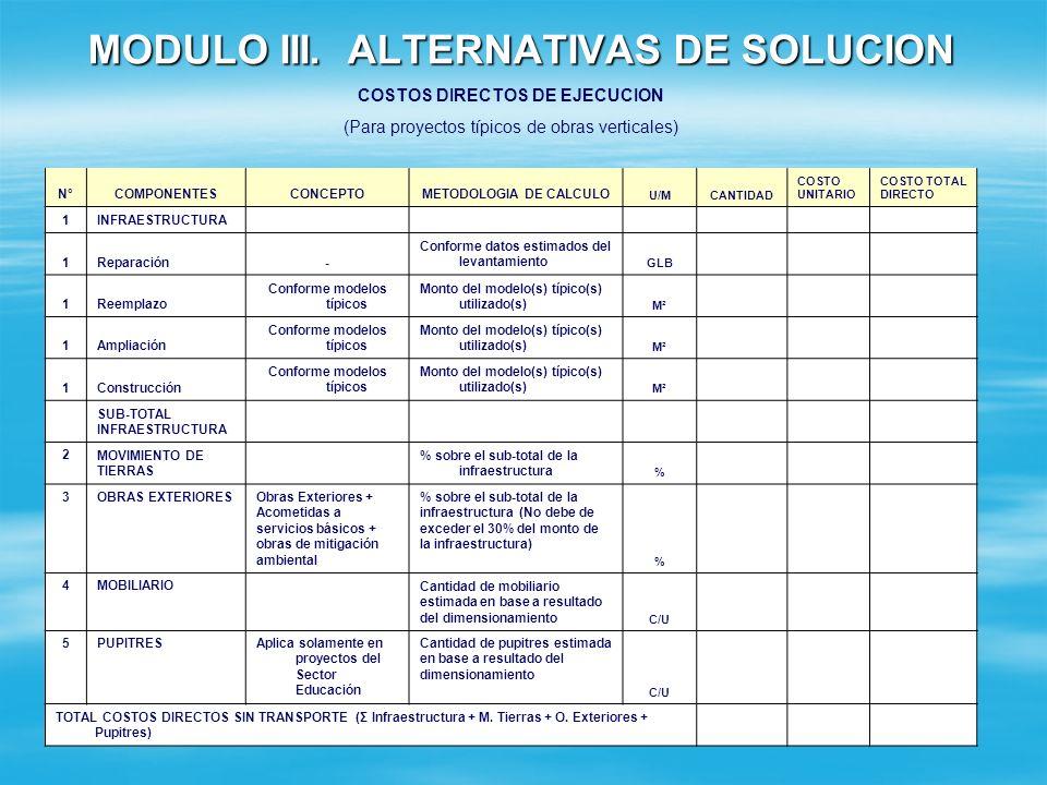 MODULO III. ALTERNATIVAS DE SOLUCION SECCION 4: COSTOS ESTIMADOS DE LAS ALTERNATIVAS PROPUESTAS Costos de Ejecución del Proyecto: Detalle los costos d