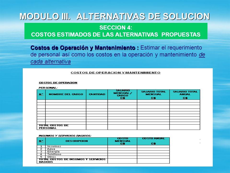 MODULO III. ALTERNATIVAS DE SOLUCION SECCION 4: COSTOS ESTIMADOS DE LAS ALTERNATIVAS PROPUESTAS N°CONCEPTOCALCULOMONTO (EN C$) 1 COSTOS DIRECTOS SIN I