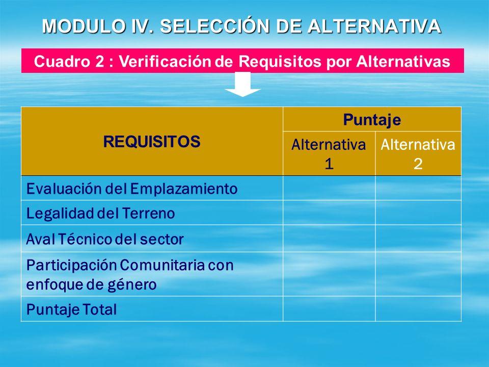 MODULO IV. SELECCIÓN DE ALTERNATIVA CONCEPTO ALTERNATIVA 1ALTERNATIVA 2 Costos C$ Ejecución Operación y Mantenimiento TOTALES Cuadro 1 : Análisis Comp