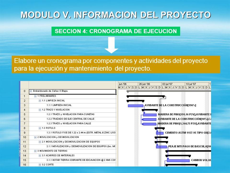 MODULO V. INFORMACION DEL PROYECTO SECCION 3: DIMENSIONAMIENTO CONCEPTO SIN PROYECTO CON PROYECTO DEFICIT / SUPERVAVIT SIN PROYECTO DEFICIT / SUPERAVI